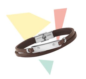 > Bracelet acier cuir 20 cm
