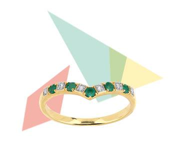 > Bague or 375 2 tons émeraude et diamant